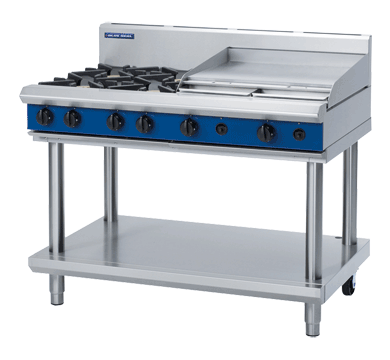 Blue Seal Evolution Cooktop 4 Open/ 1 Griddle Burner Gas on Stand 1200mm G518B-LS
