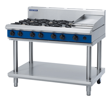 Blue Seal Evolution Cooktop 6 Open/1 Griddle Burner Gas on Stand 1200mm G518C-LS