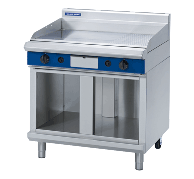 Blue Seal Evolution Chrome 1/3 Ribbed Full Griddle with Cabinet Base Gas 900mm GP516-CB