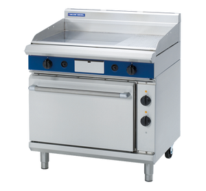 Blue Seal Evolution Gas 1/3 Ribbed Chrome Full Griddle Electric Static Oven Gas 900mm GPE506