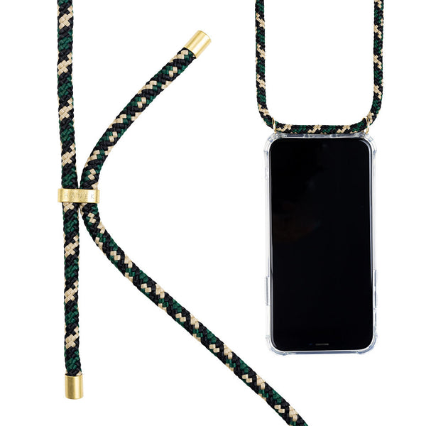 Coque collier  pour iphone 12 mini modele jungle collier vert