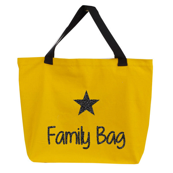 Sac moutarde paillettes noires - Family Bag