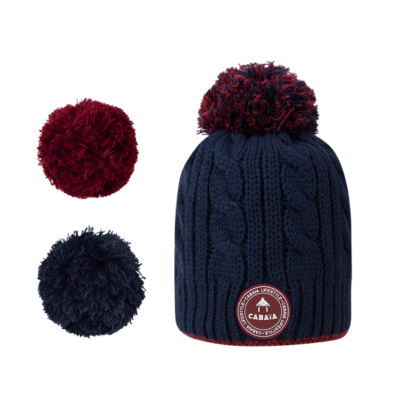 Bonnet pompons interchangeables Creamy Gin Navy
