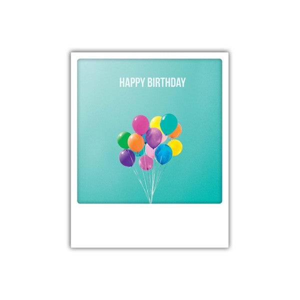 Carte polaroïd - Happy birthday ballons