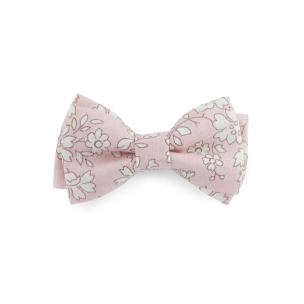 Barrette - double nœud papillon liberty rose