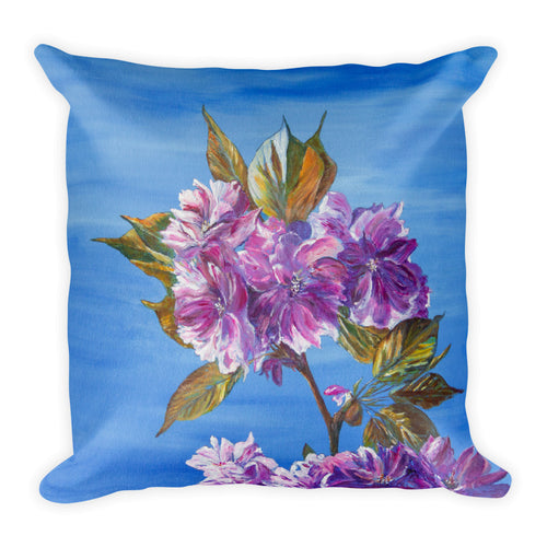 Cherry Blossom Leaves Cushion - Canvas