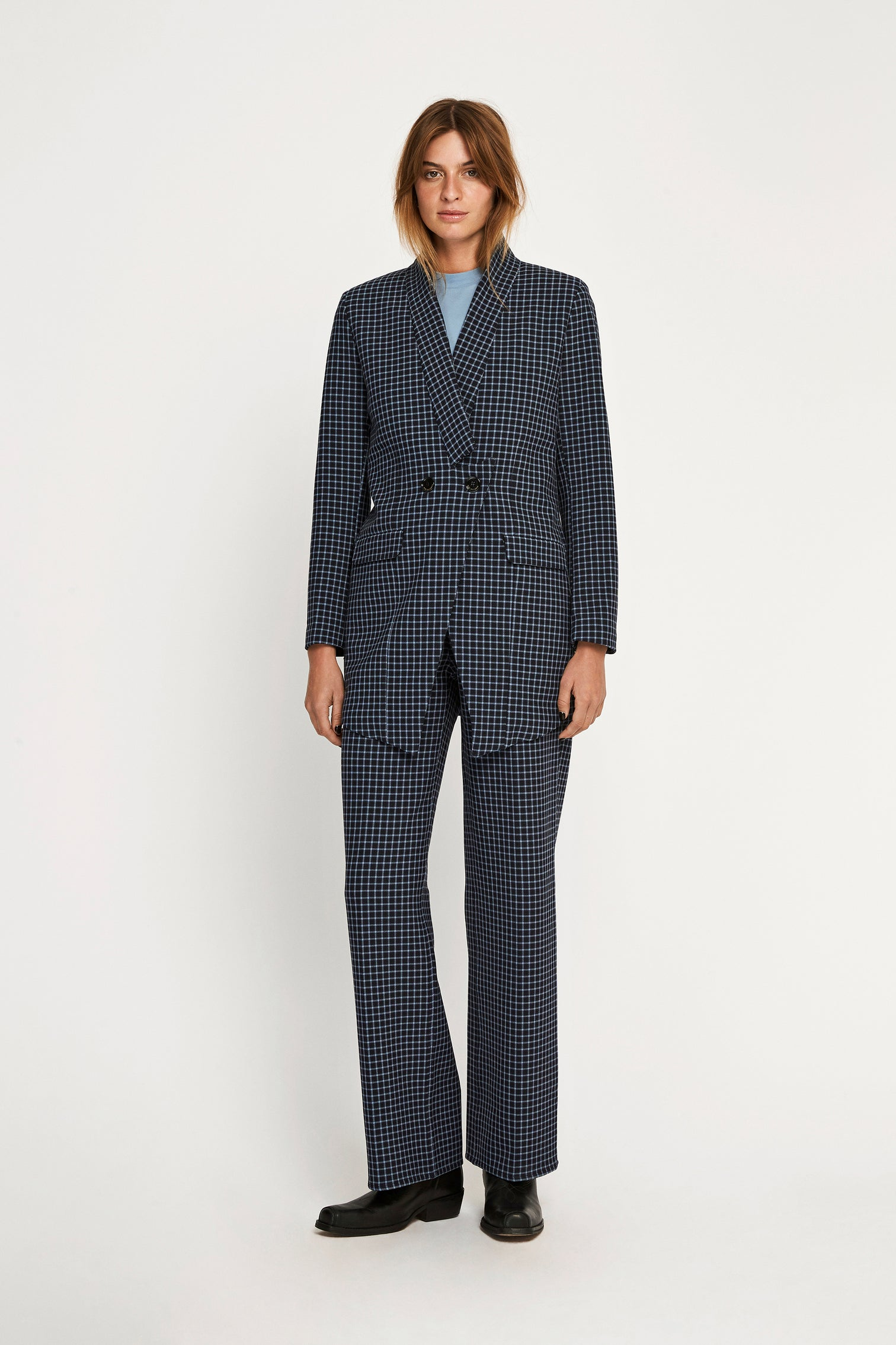 Won Hundred Women Christina Checked Blazer Blazer Dress Blue Check
