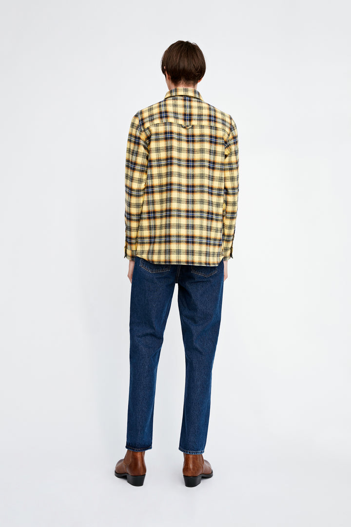 Won Hundred Men Rex Checked Overshirt Shirt Yellow Check