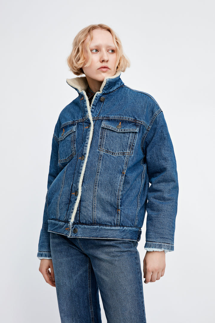 Won Hundred Women Vilda Teddy Denim Jacket Jacket Medium Stone Blue