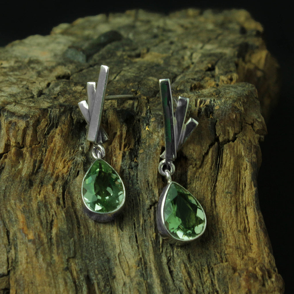 GREEN PRASIOLITE EARRING STERLING SILVER 950