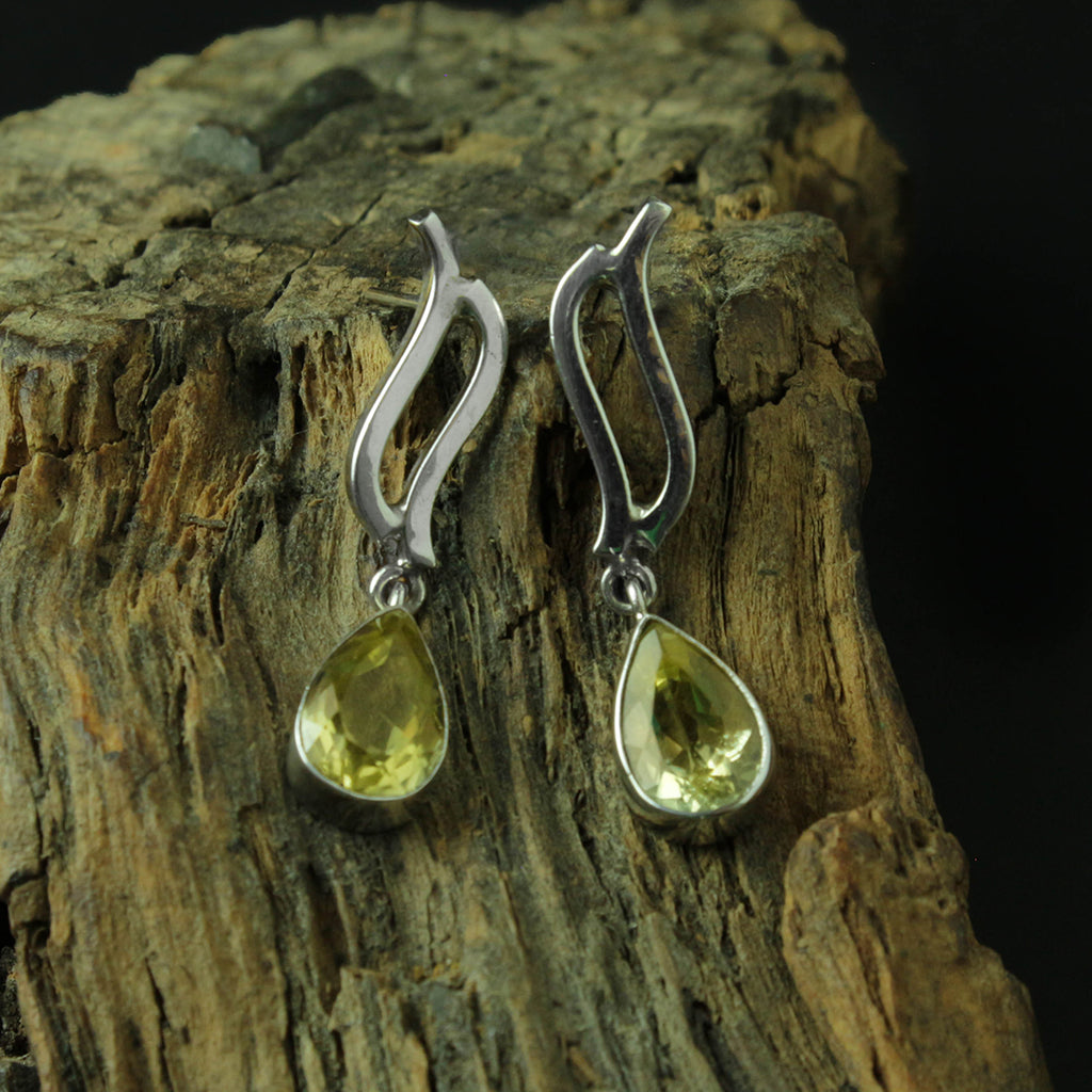 GREEN GOLD TOPAZ EARRING STERLING SILVER 950