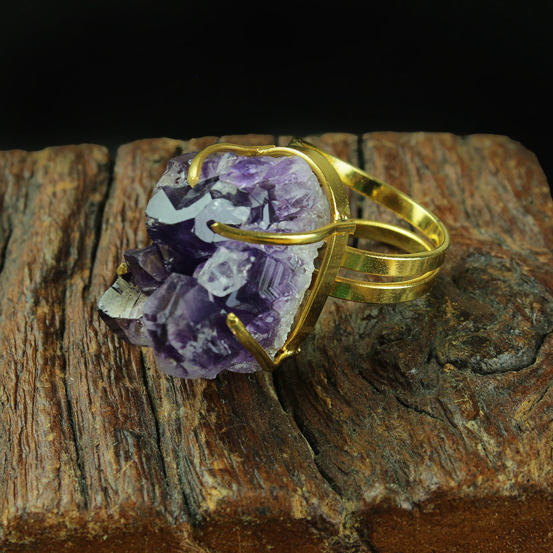 GOLD PLATED AMETHYST DRUZY RING