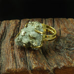 GOLD PLATED PYRITE CRYSTAL DRUZY RING