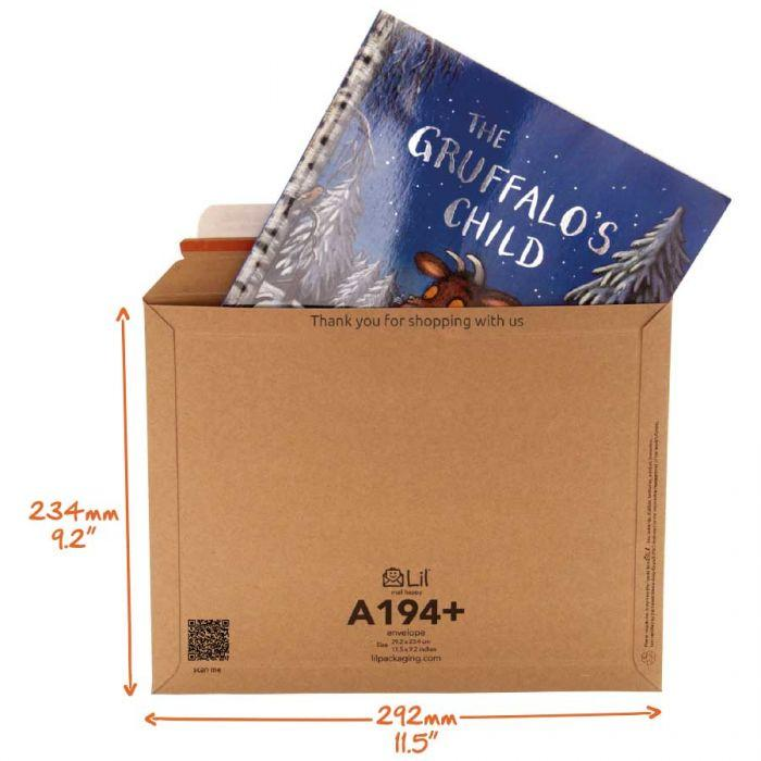 A194+ envelope perfect for mailing out childrens books, illustrated art books and media up to 30mm thick.