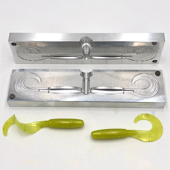 5 Inch Slick Curly Tail Grub Molds - 2 & 6 Cavity