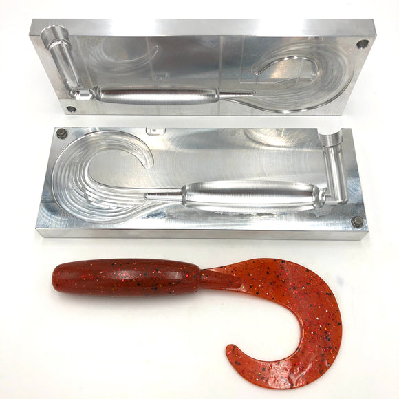 9 Inch Slick Curly Tail Grub Mold