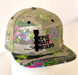 Epic Bait Molds Snapback Flatbill: Bill Green Floral / Green Floral Mesh Over