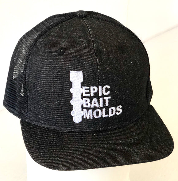 Epic Bait Molds Snapback Flatbill: Black Denim / Black Mesh