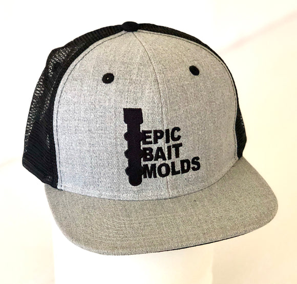 Epic Bait Molds Snapback Flatbill: Heather / Black Mesh