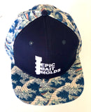 Epic Bait Molds Snapback Flatbill: Navy / Japanese Wave