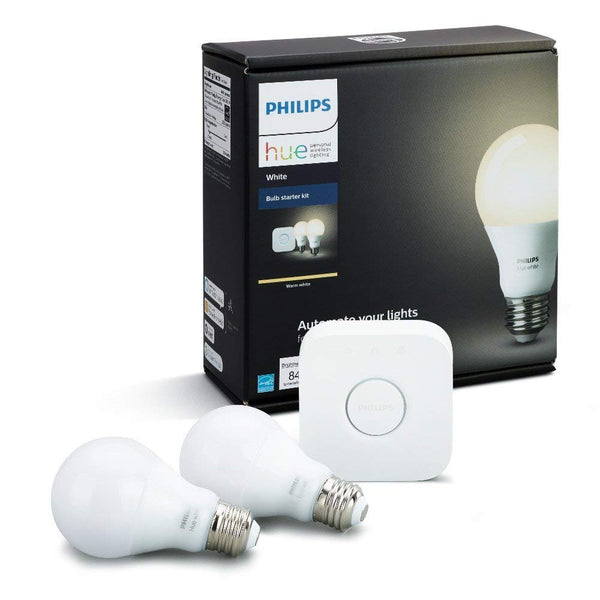 Philips Hue White A19 60W Equivalent Dimmable LED Smart Light Bulb Starter Kit (2 A19 60W White Bulbs and 1 Bridge, Works with Alexa, Apple HomeKit, and Google Assistant)