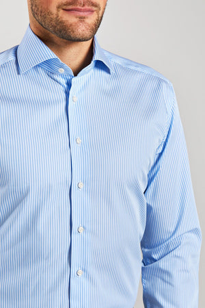 Classic Fit Light Blue Stripe Wrinkle Free