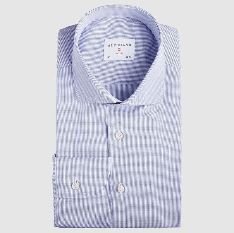 Classic Fit Blue Mini Check Wrinkle Free