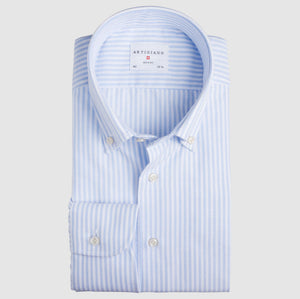 Classic Fit Hellblau Gestreift Oxford