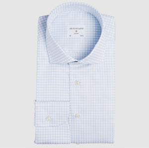 Classic Fit Light Blue Check Twill