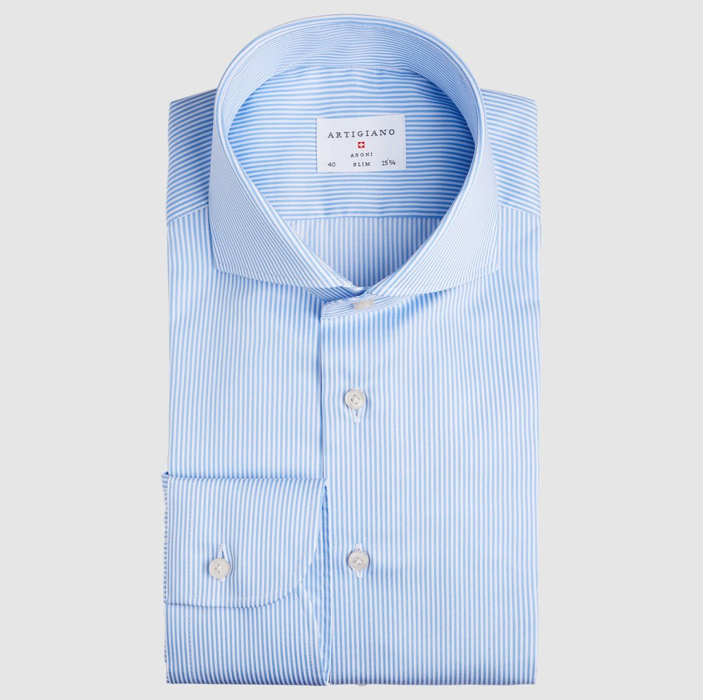 Slim Fit Light Blue Stripe Twill