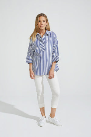 Oversize Striped Polo Blouse