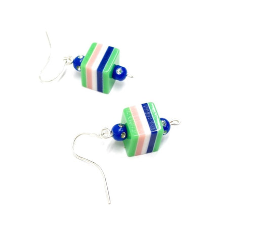 Green striped earrings, green earrings