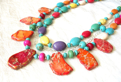 Statement necklace, multicolor howlite necklace, bright colors, colorful necklace, multi strand