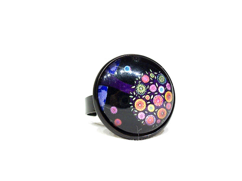 Black ring, adjustable ring with colorful flowers, abstract art jewelry, fun jewelry