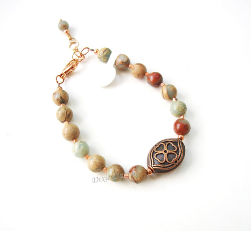 Sea sediment jasper and copper bracelet, adjustable bracelet with large clasp
