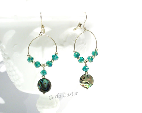 Abalone shell hoop earrings, aqua earrings, resort wear, beach jewelry