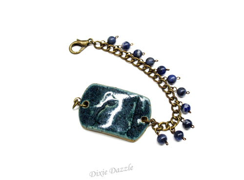 Denim blue ceramic bracelet with sodalite stone charms, blue jean jewelry, chunky bracelet