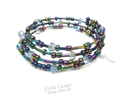 Sparkly Blue and purple memory wire bracelet, wrap bracelet with 4 wraps