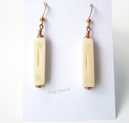 Carved bone earrings with copper, lightweight earrings with bone and copper, copper jewelry