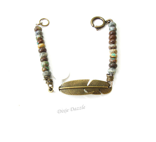 Rustic turquoise bracelet with bronze feather, natural stone jewelry, brown and blue bracelet
