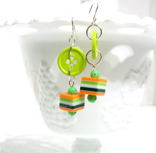 Green and orange button earrings, lightweight earrings by Dixie Dazzle, Chattanooga, TN, USA