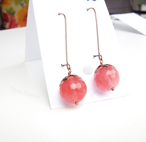 Drop earrings with pink cherry quartz drop on copper earring wires, semiprecious gemstone jewelry, pink earrings