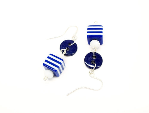 Button jewelry, classic navy and white earrings, button earrings, fun jewelry, light weight earrings, made in Tennessee, USA