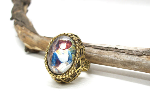 Cameo ring in a vintage gold tone ring setting, vintage art cameo, handmade cameo in ornate setting
