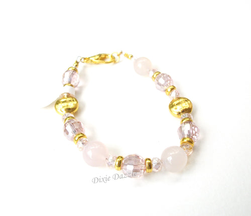 Rose quartz and faceted crystal bracelet, gold and pink bracelet, healing stone, textured gold beads by Dixie Dazzle