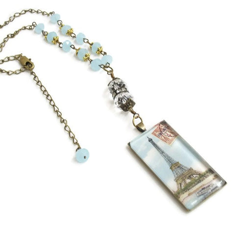 Romantic jewelry Eiffel Tower pendant, Paris domino necklace, vintage French image domino necklace with blue crystals, rhinestones