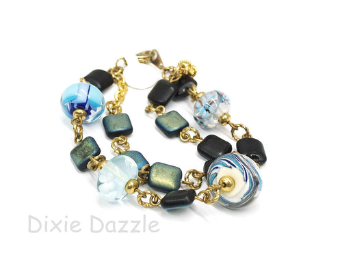 Blue Lamp work beads bracelet, lampwork beads, double strand bracelet, ocean blue bracelet, one of a kind jewelry, gift under 20