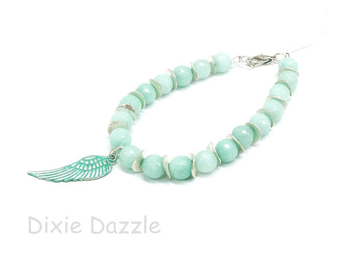 Aqua blue beaded bracelet, wing charm,summer vacation style, jade bracelet, boho bracelet, pastel jewelry,aqua green,resort wear