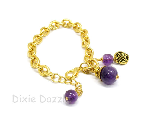 Purple bracelet, Amethyst bracelet, gold charm bracelet, purple jewelry, February birthstone, Aquarius, purple bracelet, February birthstone