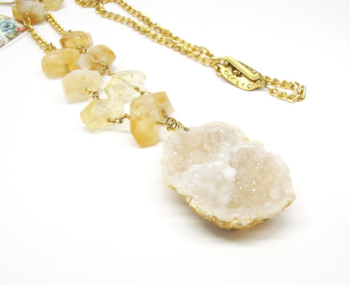 Special occasion jewelry, Yellow citrine, Quartz druzy, long necklace, geode, crystal quartz, drusy, healing crystals, yellow necklace
